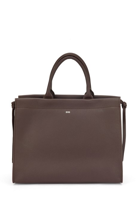 Tote bag in grained leather with laptop compartment, Dark Brown