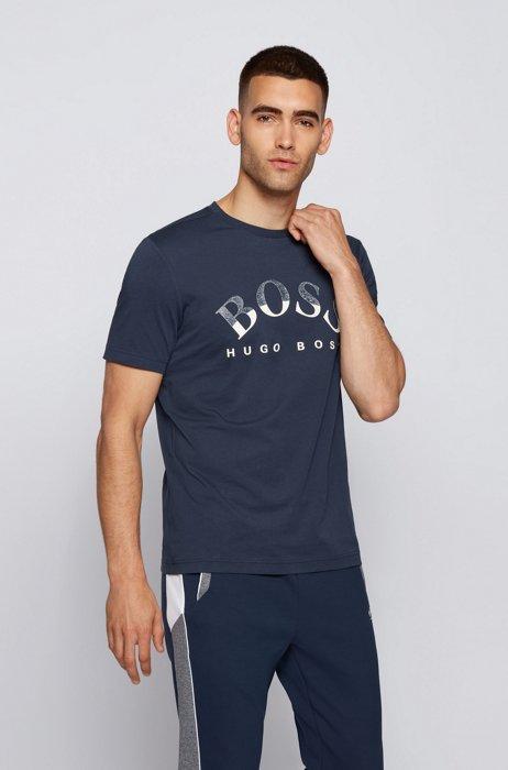 T-shirt en coton biologique avec logo incurvé imprimé, Bleu foncé