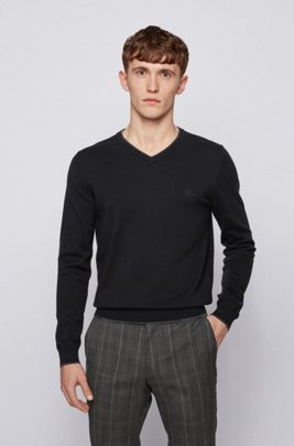 Jersey de algodón y lana virgen con ribetes en contraste, Negro