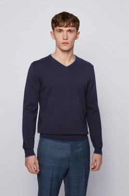 Pullover aus Baumwolle und Schurwolle mit Kontrast-Details, Dunkelblau