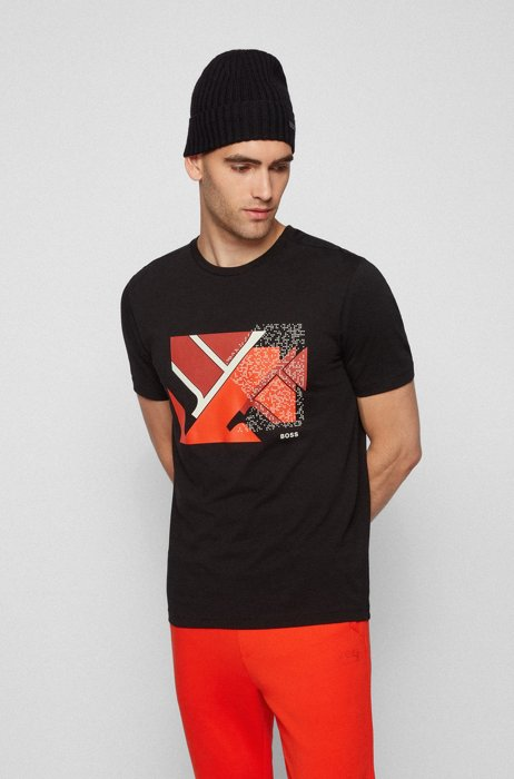 Cotton-blend T-shirt with flag-inspired artwork, Black