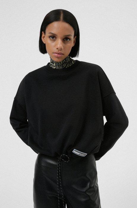 Relaxed-fit sweater van een biologische katoenmix met siliconen logo, Zwart
