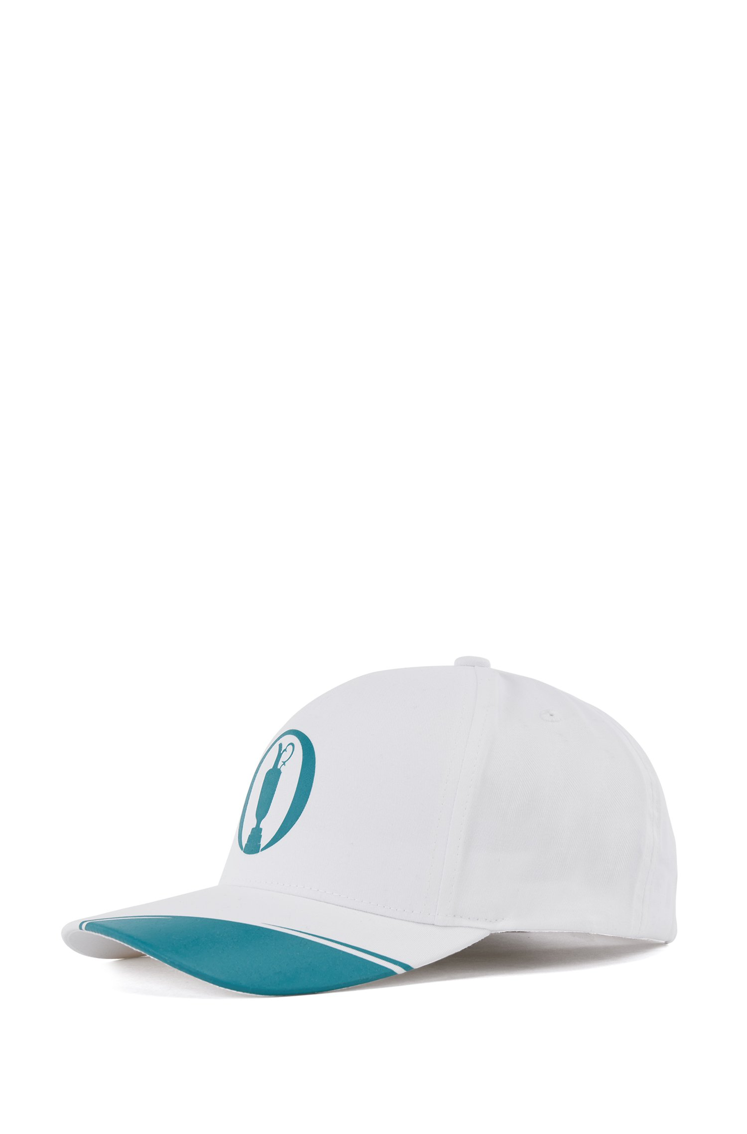 Cotton-blend cap with collection-themed artwork, White