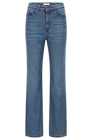 常规版型蓝色舒适弹力阔腿牛仔裤,  425_Medium Blue