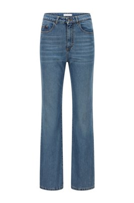Wide-leg regular-fit jeans in blue comfort-stretch denim, Blue