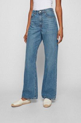 Blaue Regular-Fit Jeans aus komfortablem Stretch-Denim mit weitem Beinverlauf, Blau