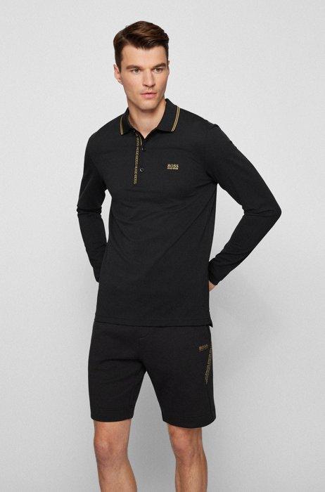 Cotton-piqué slim-fit polo shirt with logo details, Black