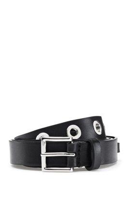 Italian-leather belt with polished-metal eyelets, Black