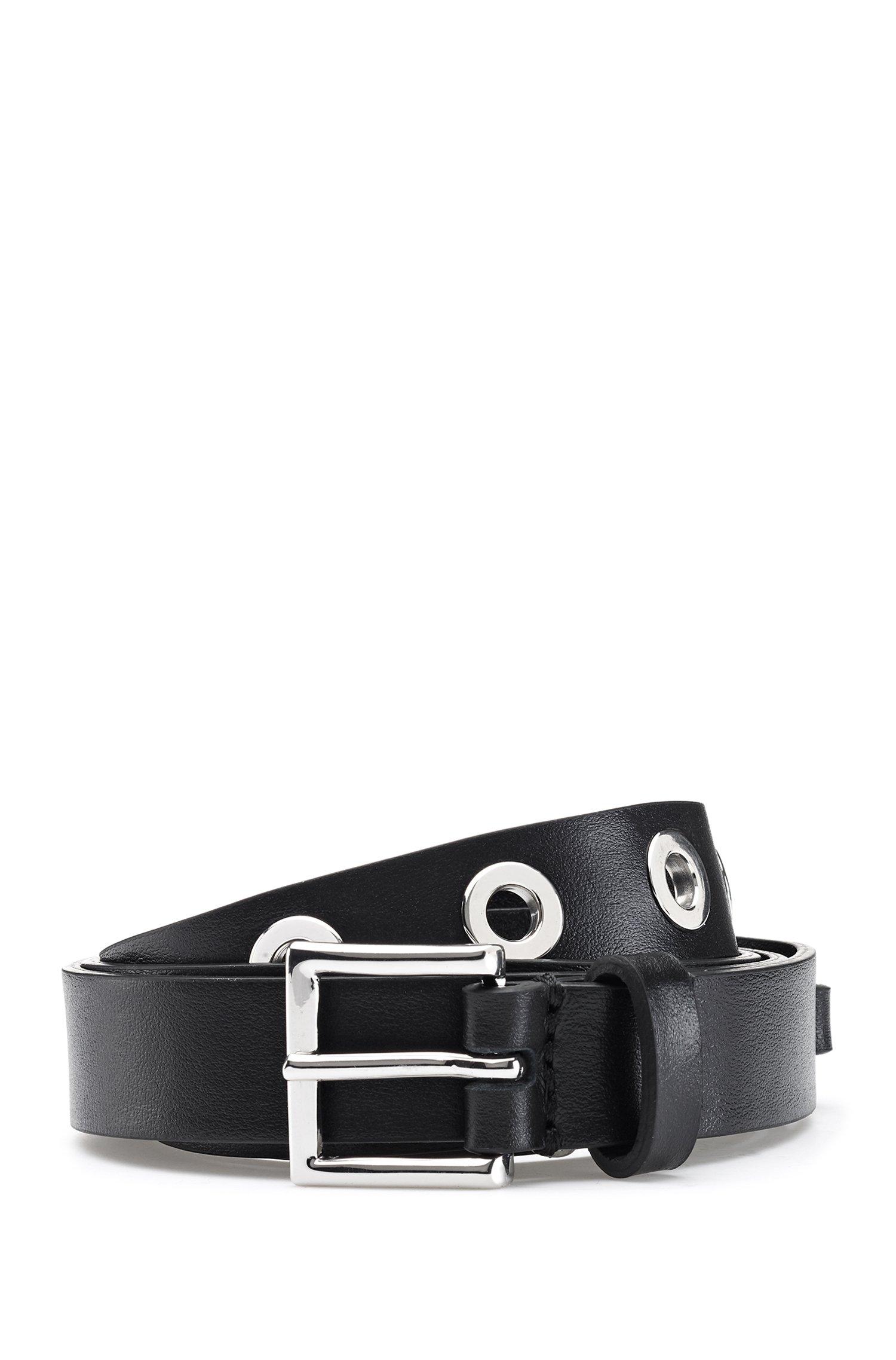 Cinturón de piel italiana con ojales de metal pulido, Negro