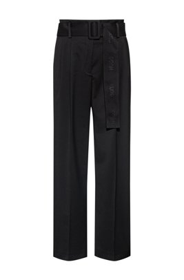 Relaxed-fit trousers in stretch fabric with logo belt, Black