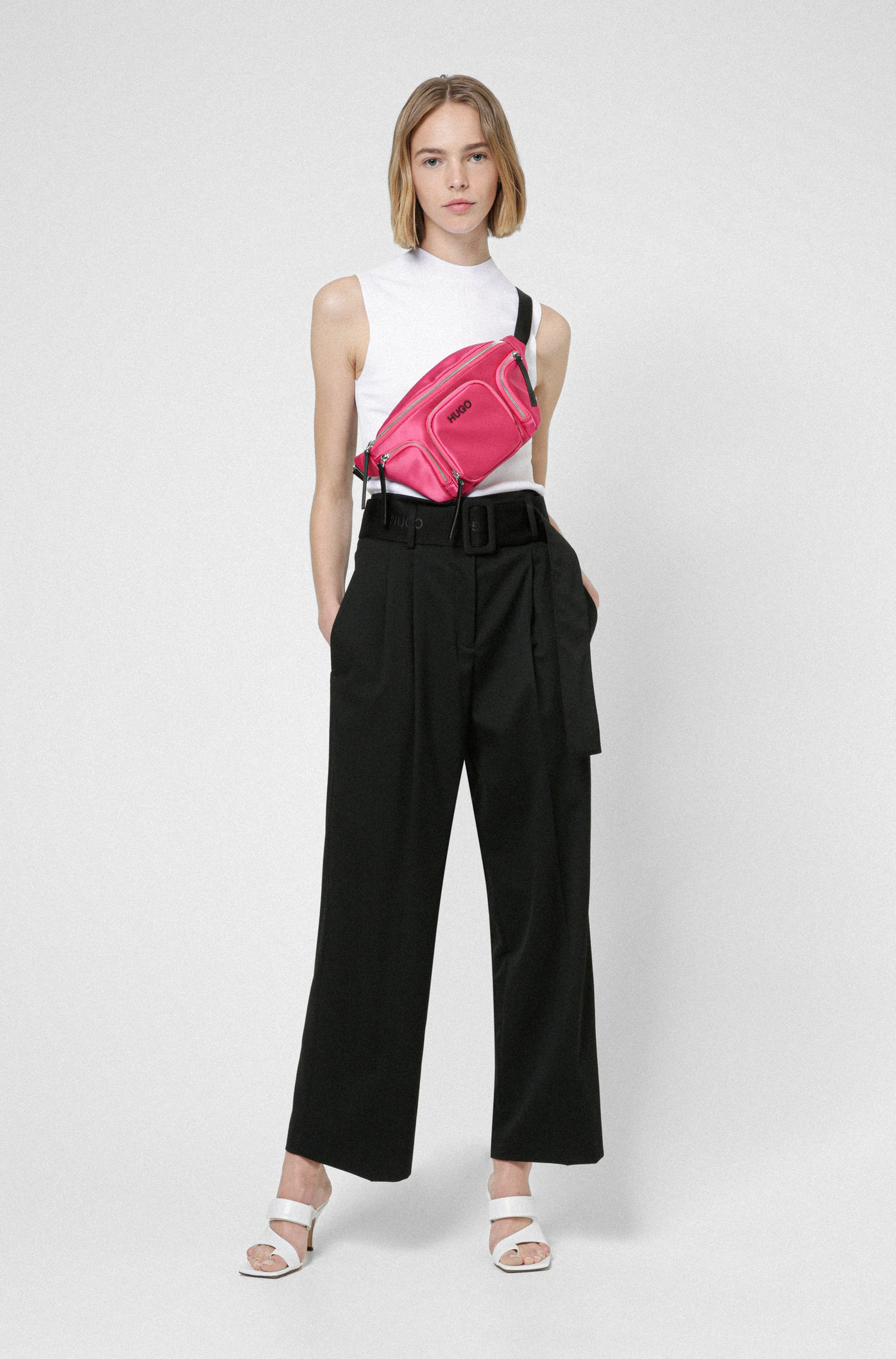 Relaxed-fit trousers in stretch fabric with logo belt
