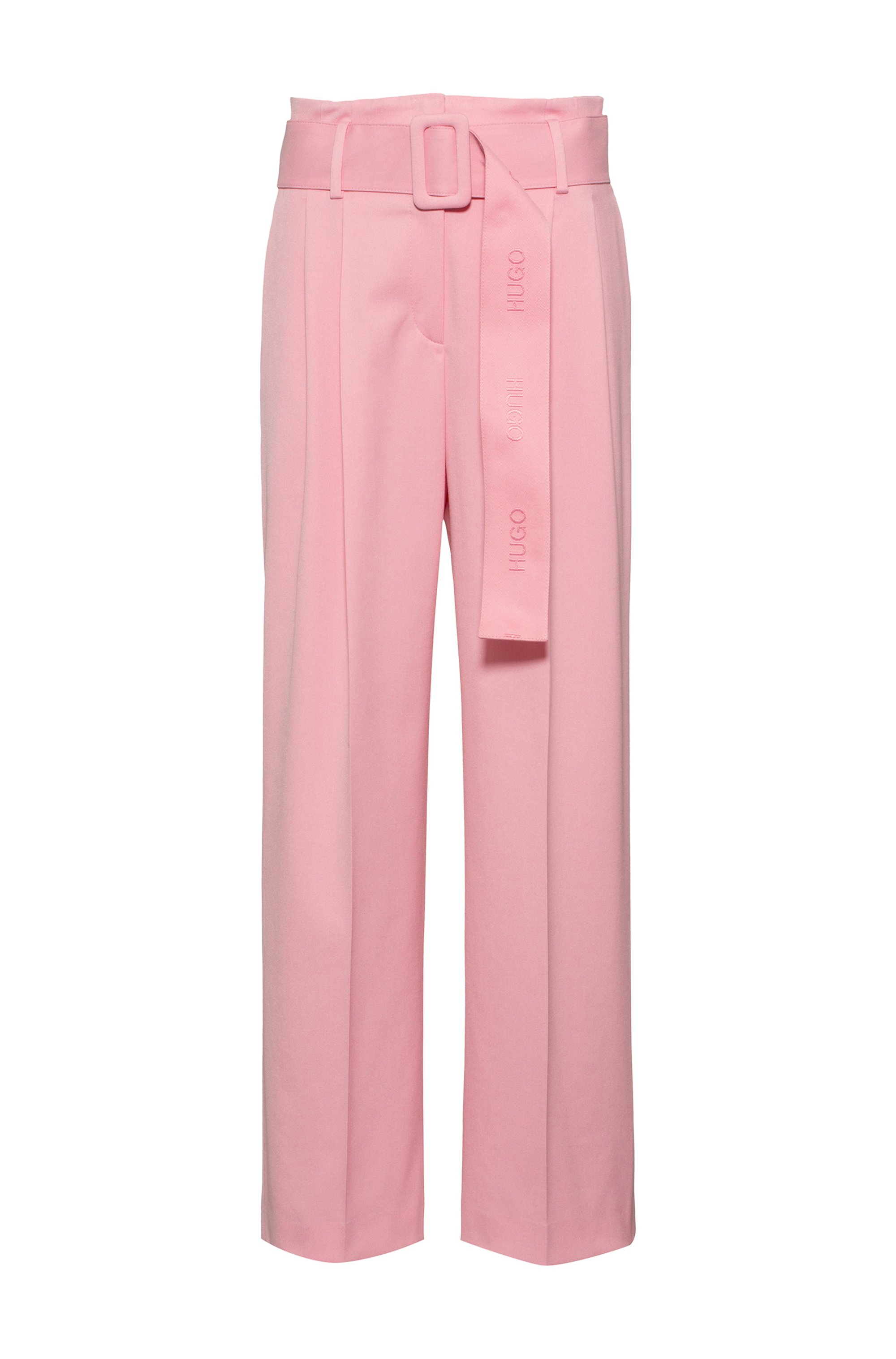 Relaxed-fit trousers in stretch fabric with logo belt, Pink
