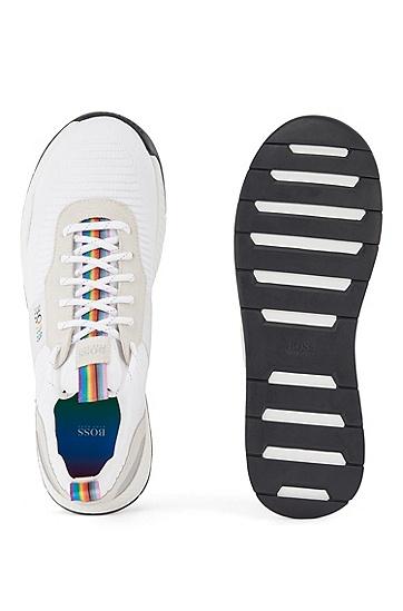 彩虹色细节徽标点缀中性套袜运动鞋,  110_Open White