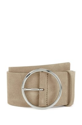 Italian-suede belt with round buckle in polished silver, Beige
