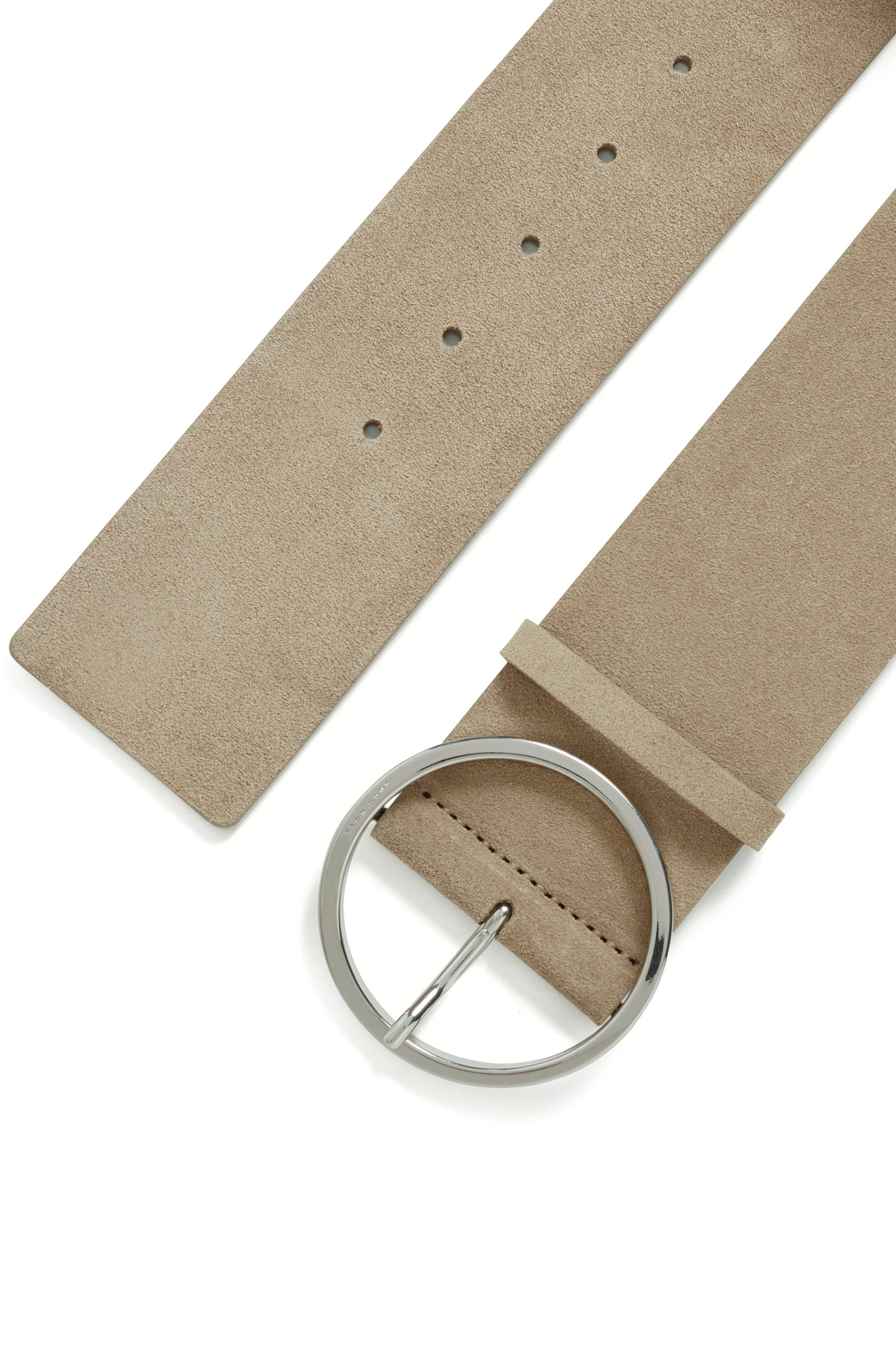 Italian-suede belt with round buckle in polished silver