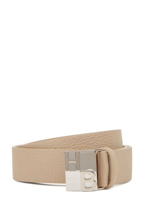 Italian-leather belt in rich grain with monogram buckle, Beige