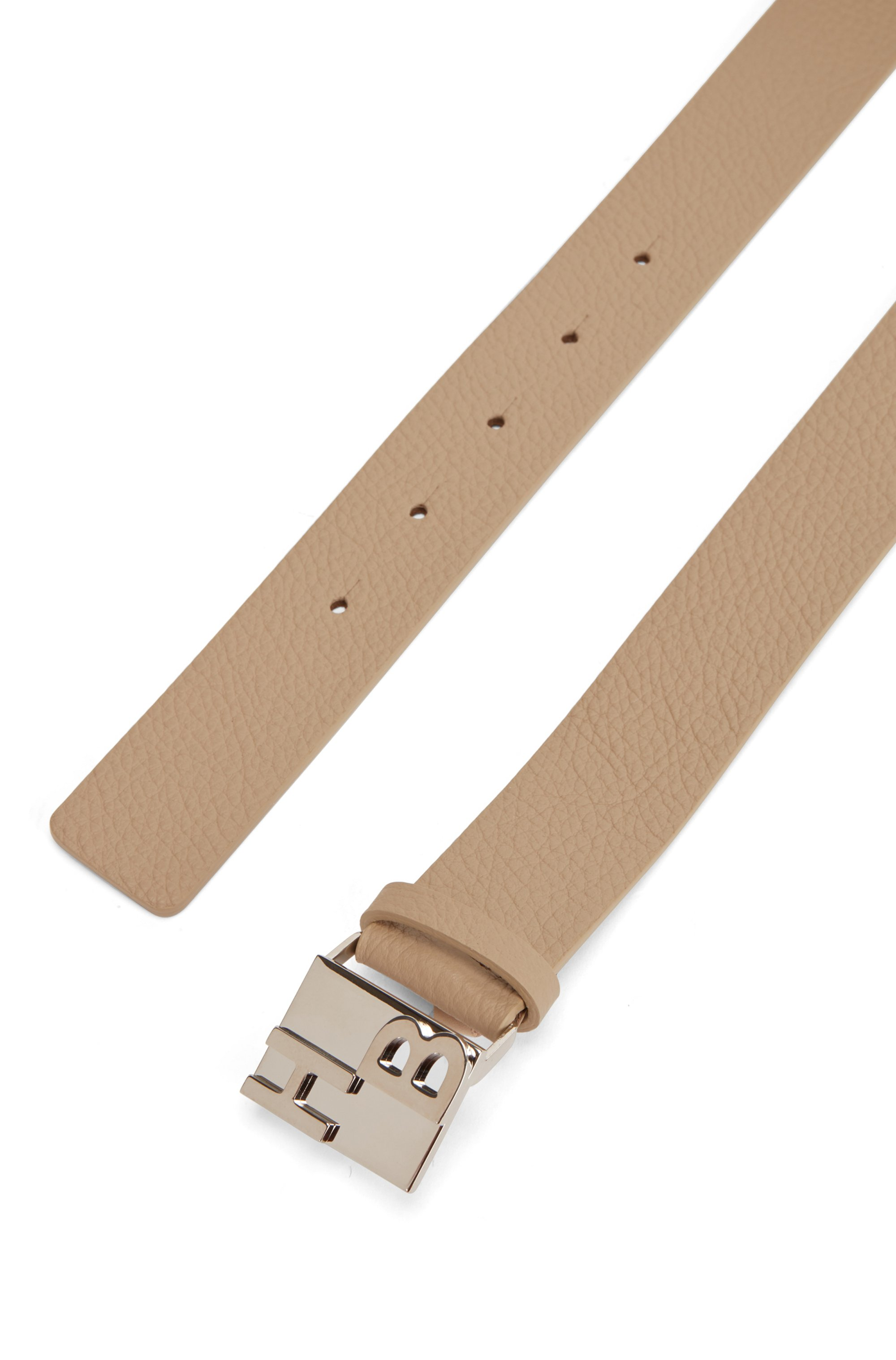 Italian-leather belt in rich grain with monogram buckle