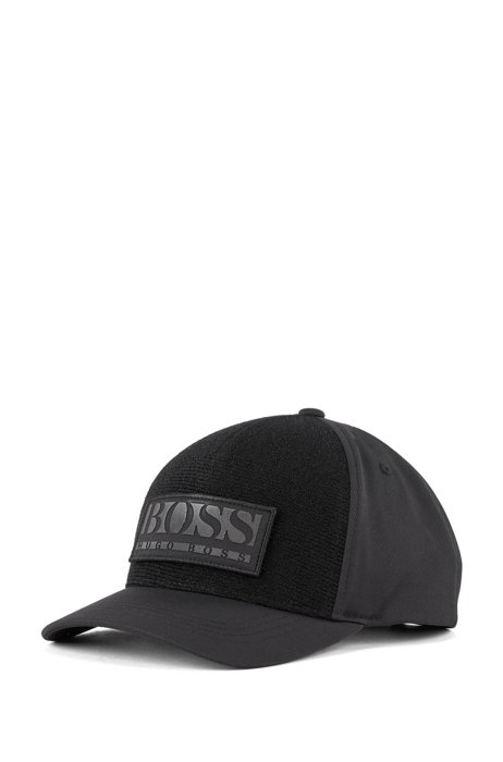 Stretch-twill cap with mix-and-match badges, Black
