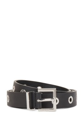 Pin-buckle belt in Italian leather with metallic eyelets, Black