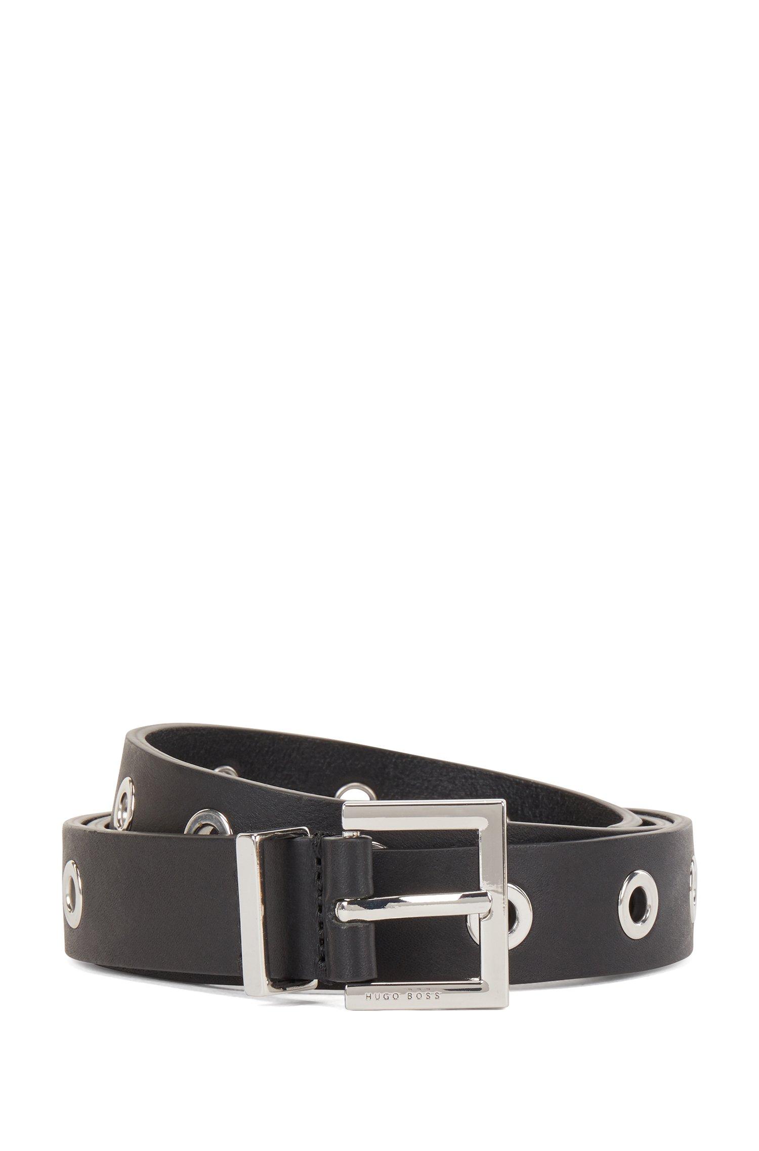 Pin-buckle belt in Italian leather with metallic eyelets, Black
