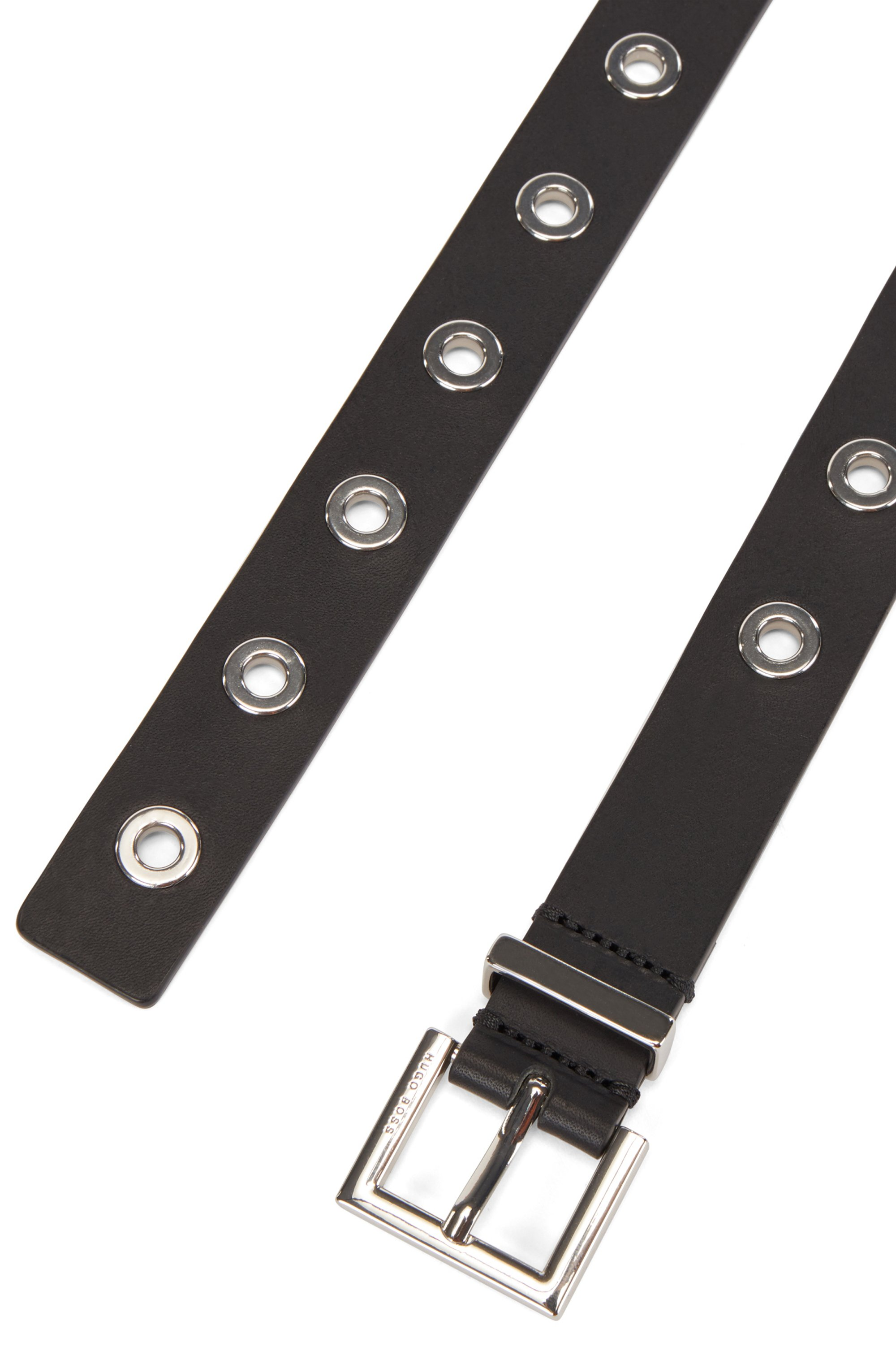 Pin-buckle belt in Italian leather with metallic eyelets