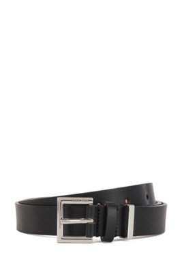 Branded-buckle belt in Italian leather with hardware detail, Black