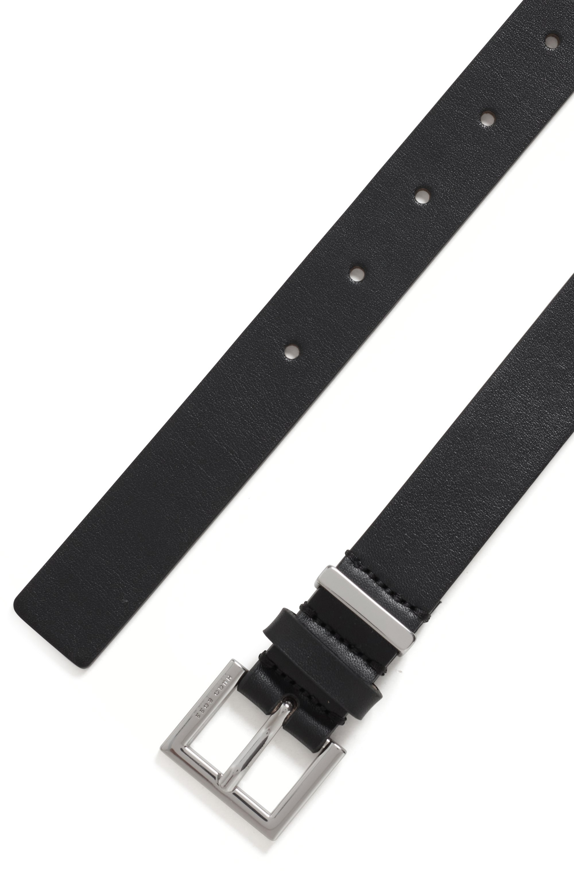 Branded-buckle belt in Italian leather with hardware detail