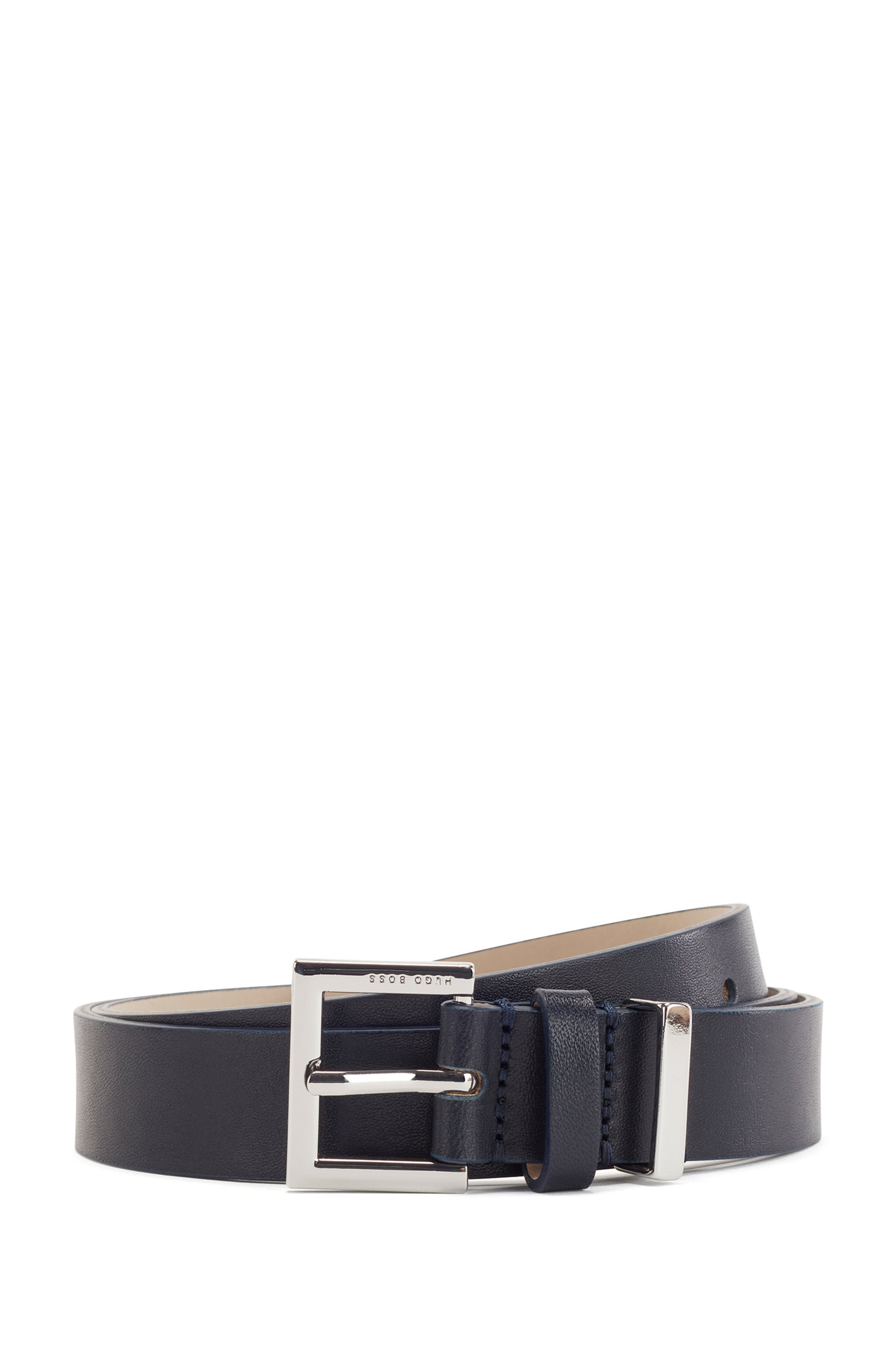 Branded-buckle belt in Italian leather with hardware detail, Dark Blue