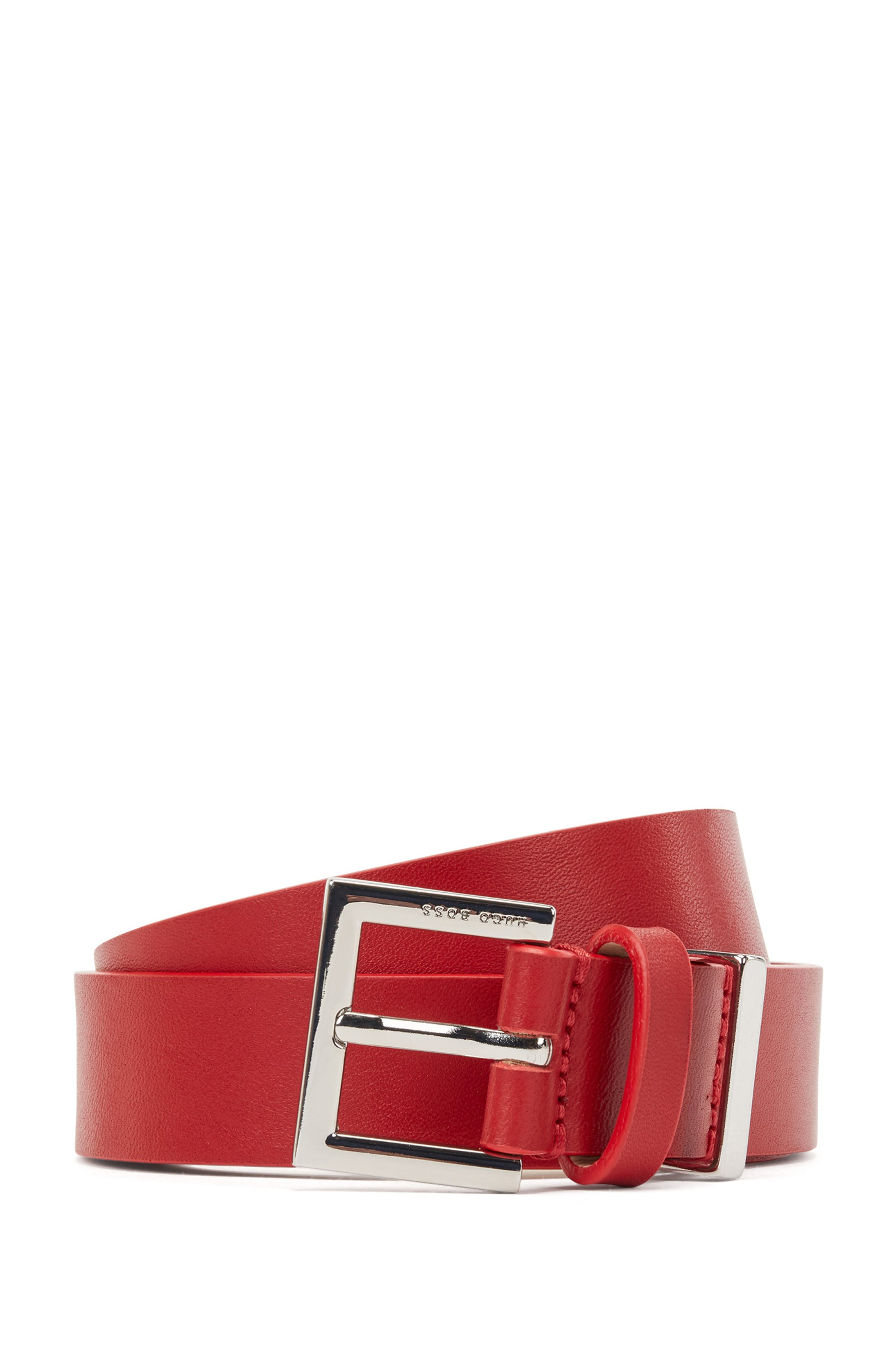 Branded-buckle belt in Italian leather with hardware detail, Red