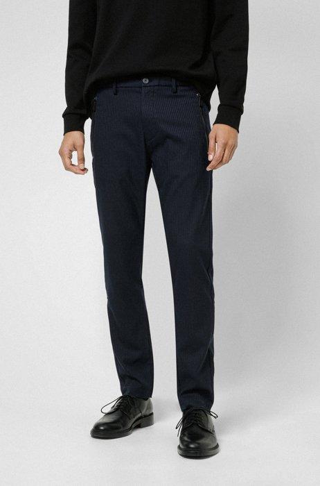 Herringbone slim-fit chinos with zipped pockets, Dark Blue