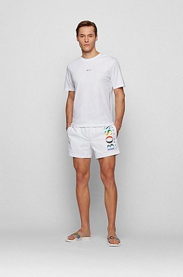 彩虹色徽标中性拖鞋,  Open White