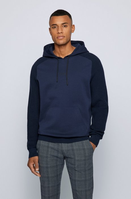 Hybrid hooded sweater in relaxed fit with logo print, Dark Blue