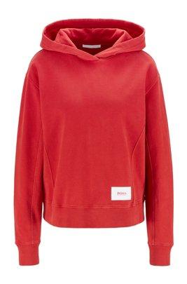Relaxed-Fit Kapuzen-Sweatshirt aus French Terry mit Logo-Aufnäher, Rot