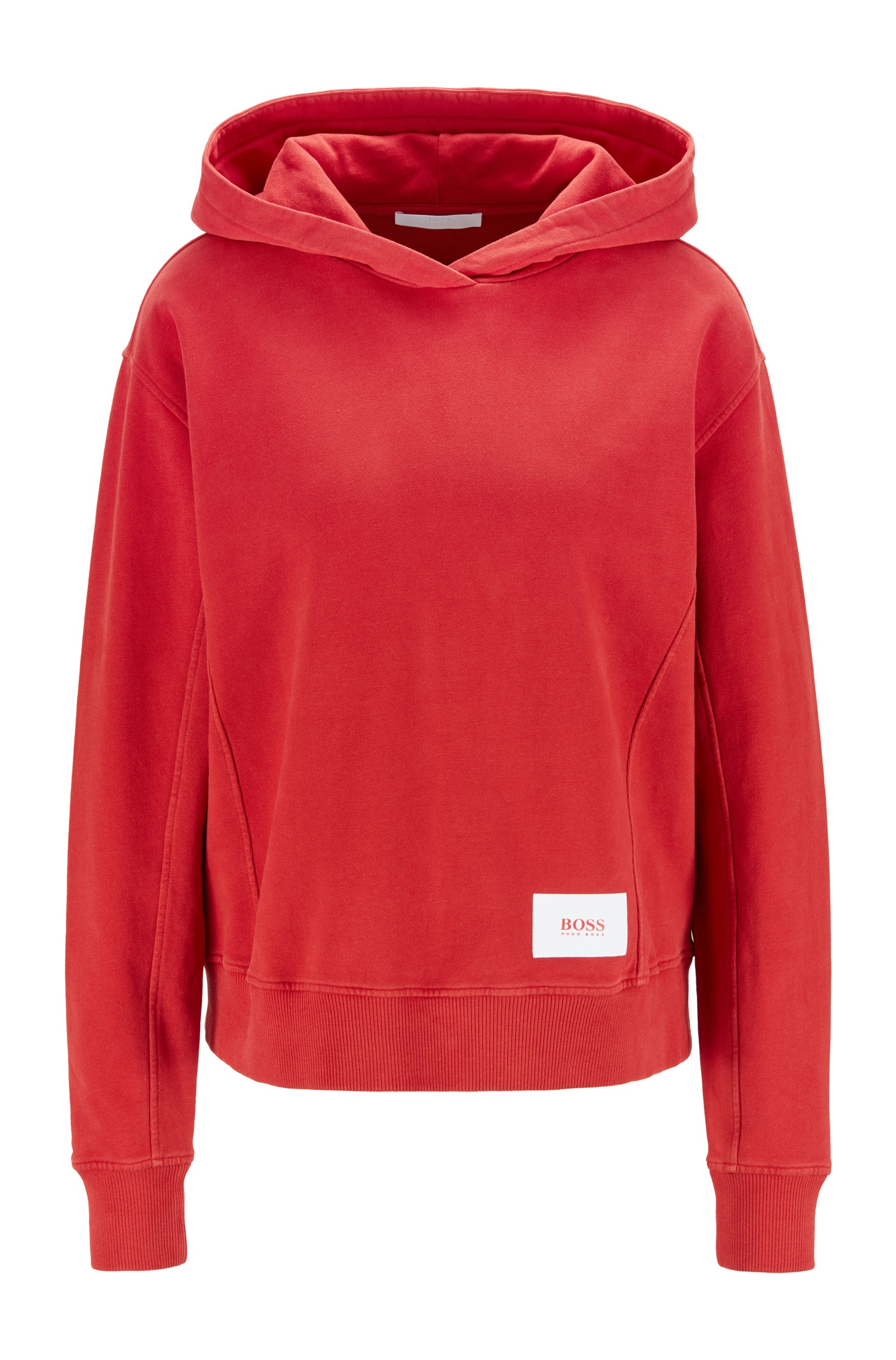 Relaxed-fit hoodie in French terry with logo patch, Red