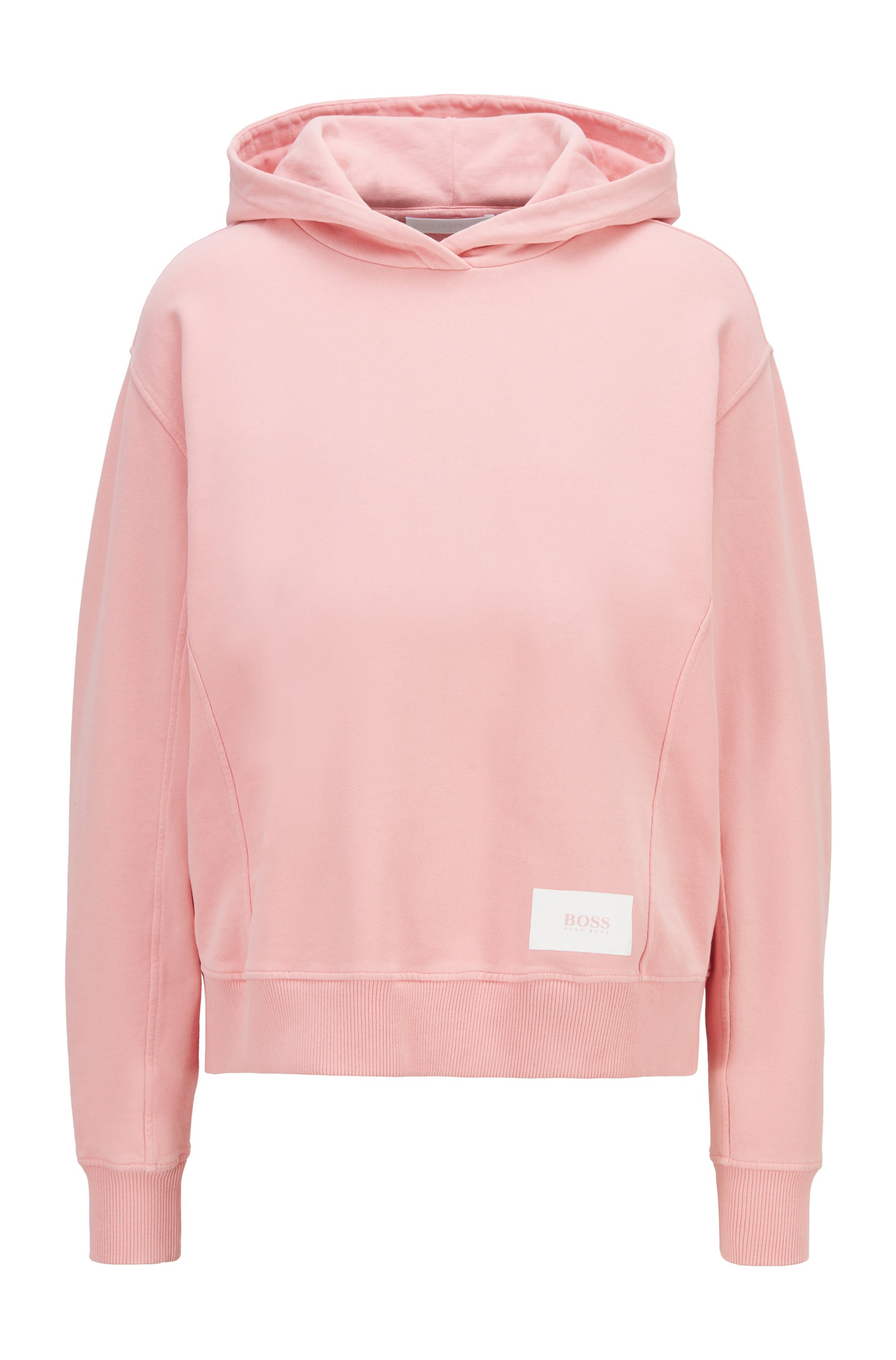 Relaxed-fit hoodie in French terry with logo patch, Pink