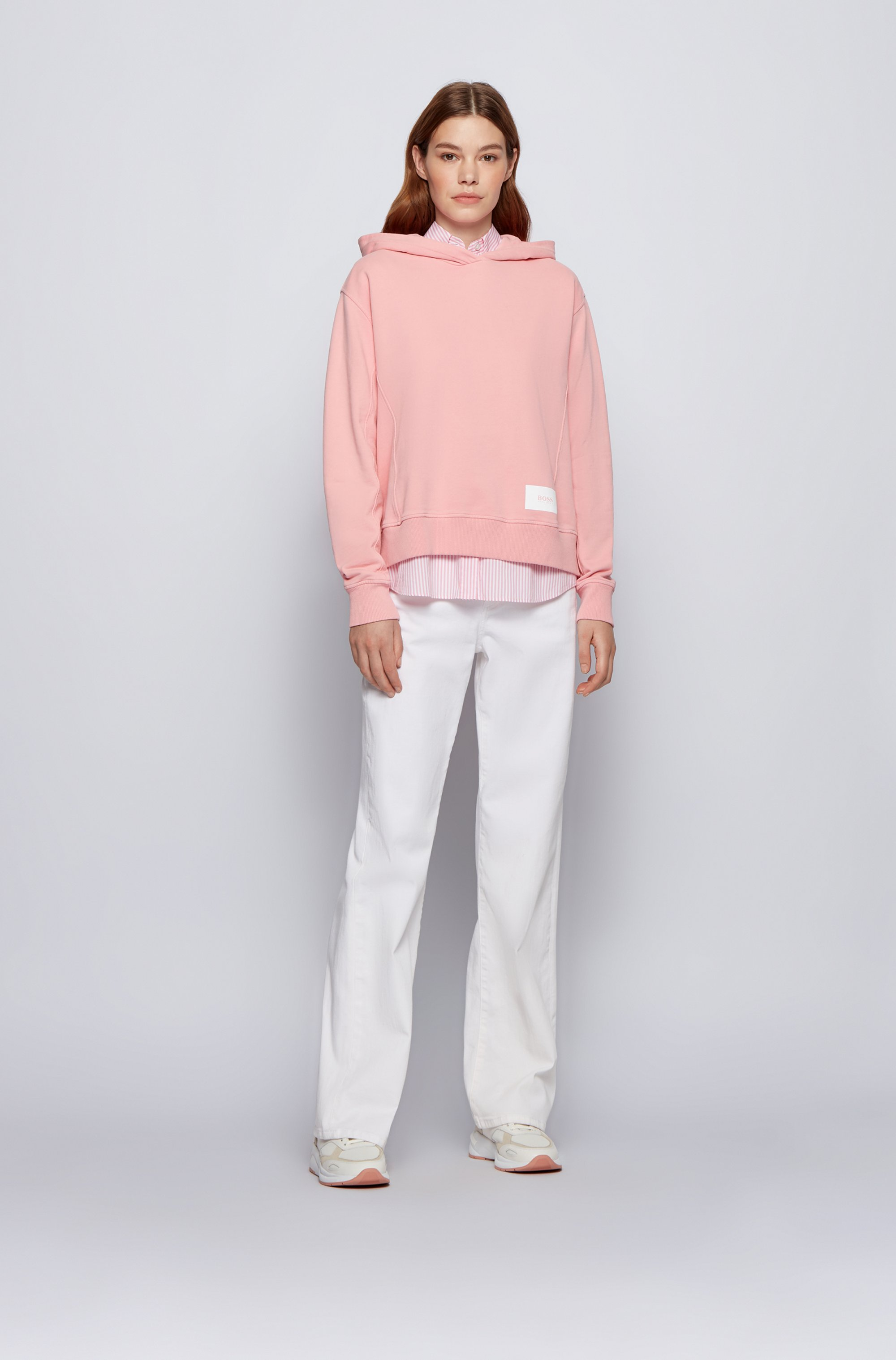 Relaxed-fit hoodie in French terry with logo patch