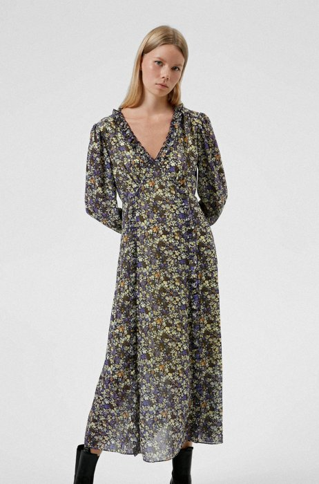 Floral-print V-neck dress with ruffle trims, Patterned