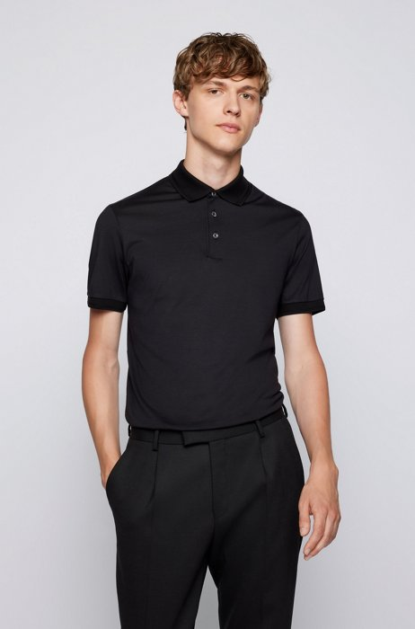 Slim-fit polo shirt in cotton and silk, Black