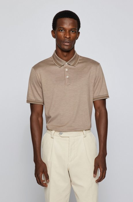 Slim-fit polo shirt in cotton and silk, Light Brown