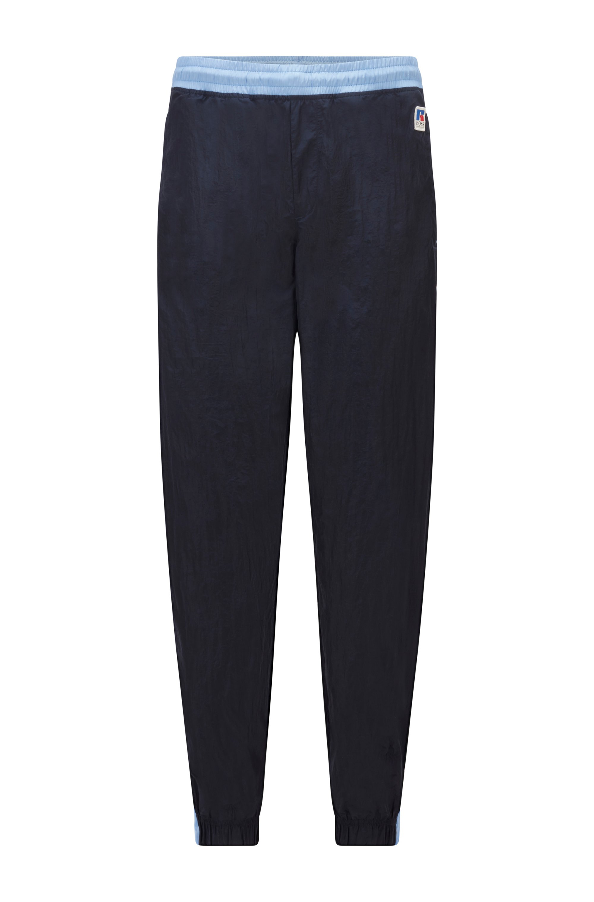 Contrast-trim tracksuit bottoms with exclusive logo, Dark Blue
