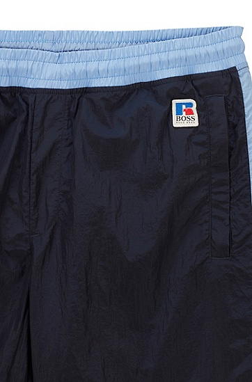 RUSSELL联名徽标图案装饰撞色饰边运动裤,  404_Dark Blue