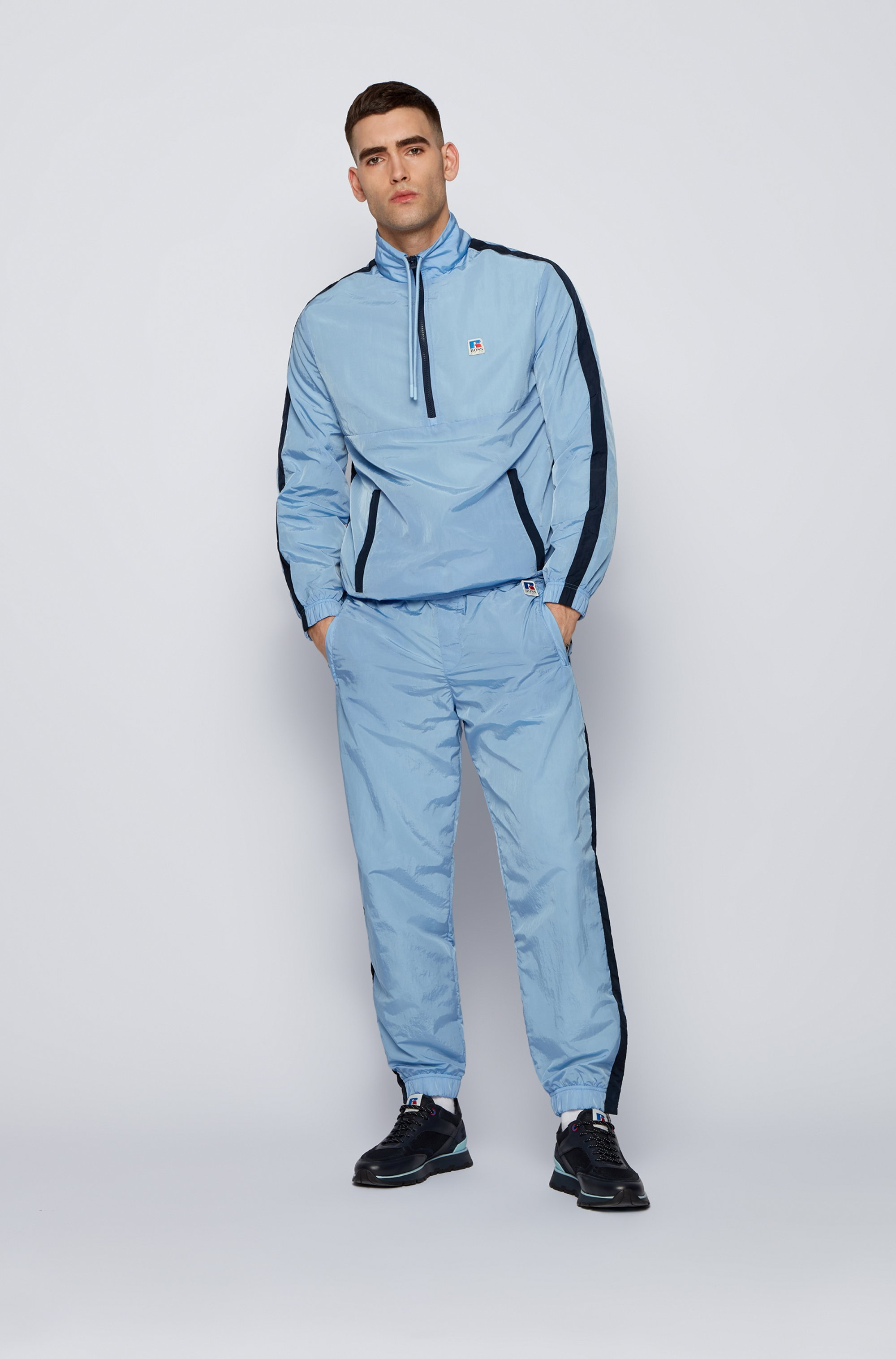 Contrast-trim tracksuit bottoms with exclusive logo