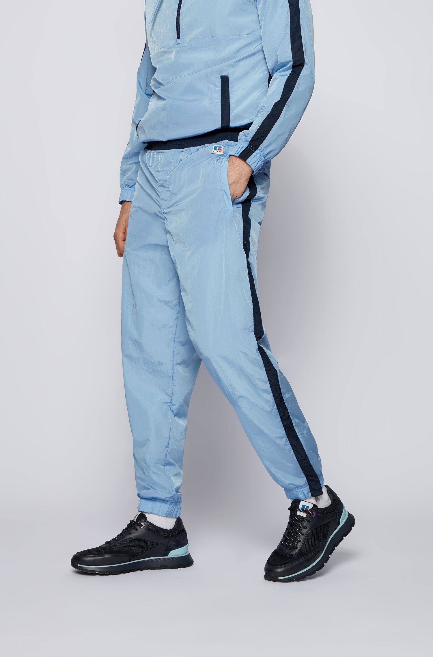 Contrast-trim tracksuit bottoms with exclusive logo, Light Blue