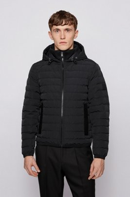 Regular-fit down jacket in ottoman fabric, Black