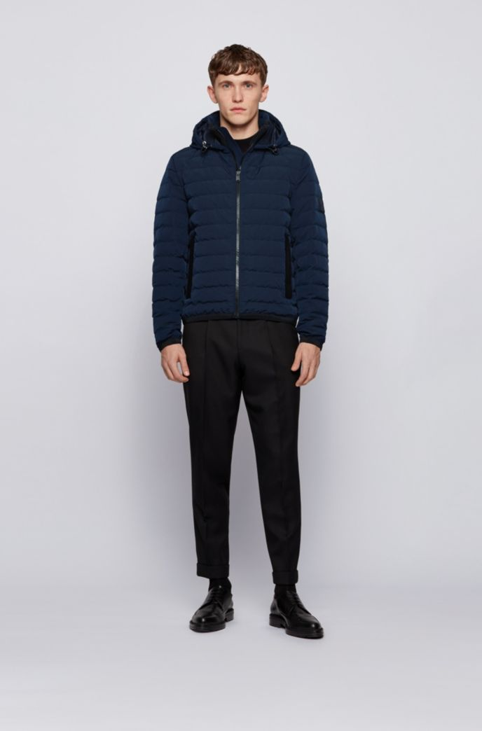 Regular-fit down jacket in ottoman fabric