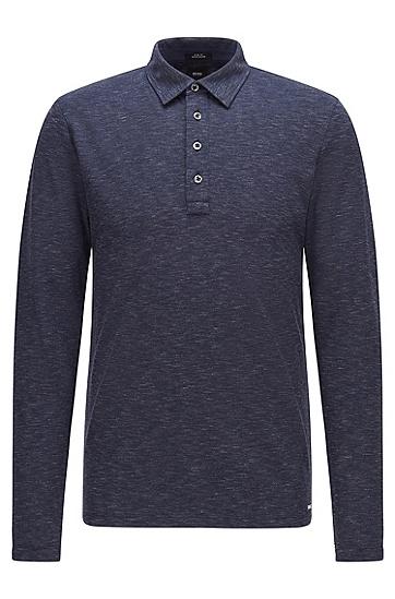 棉毛混纺面料修身 Polo 衫,  404_Dark Blue