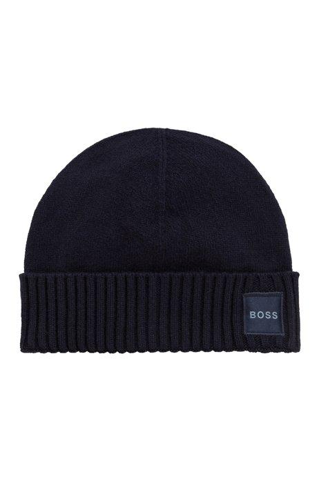 Turn-up beanie hat with woven logo badge, Dark Blue