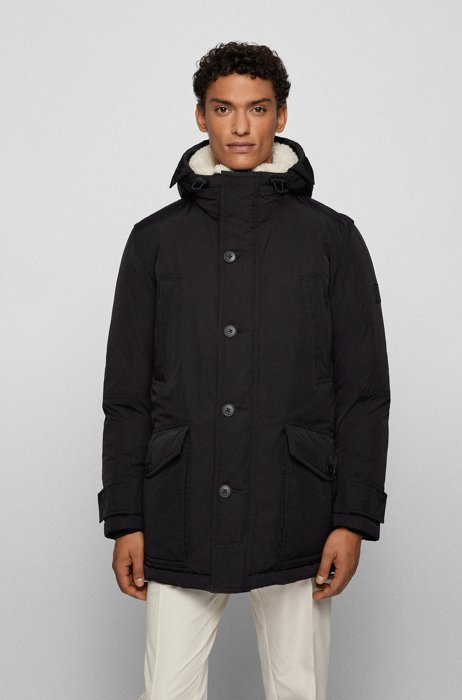 Relaxed-fit parka jacket with removable hood, Black