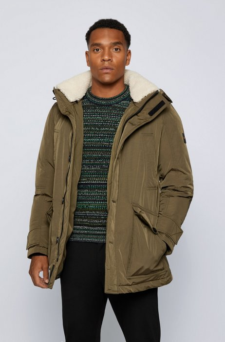 Relaxed-fit parka jacket with removable hood, Dark Green