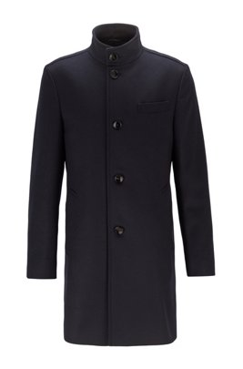 Slim-fit coat in a felted wool blend, Dark Blue